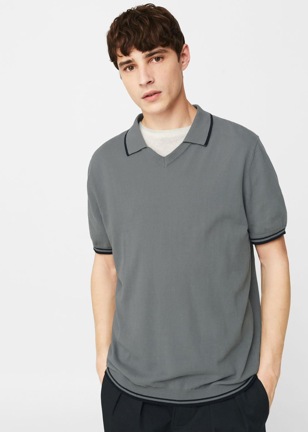Contrast trim polo shirt | MANGO MAN