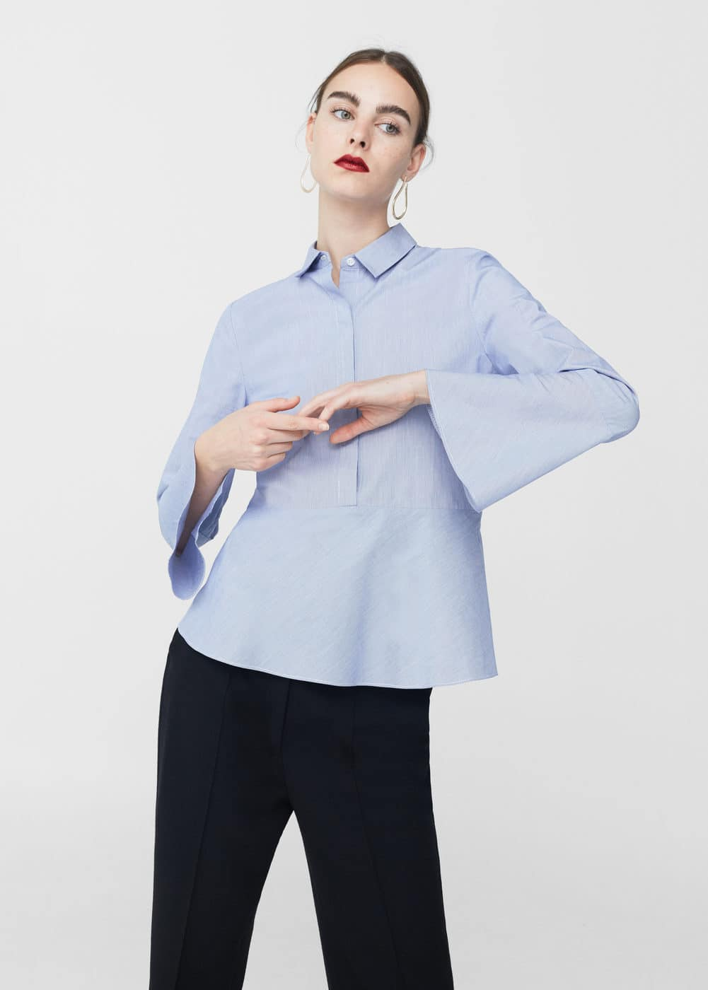 Ruffled sleeve shirt | MANGO