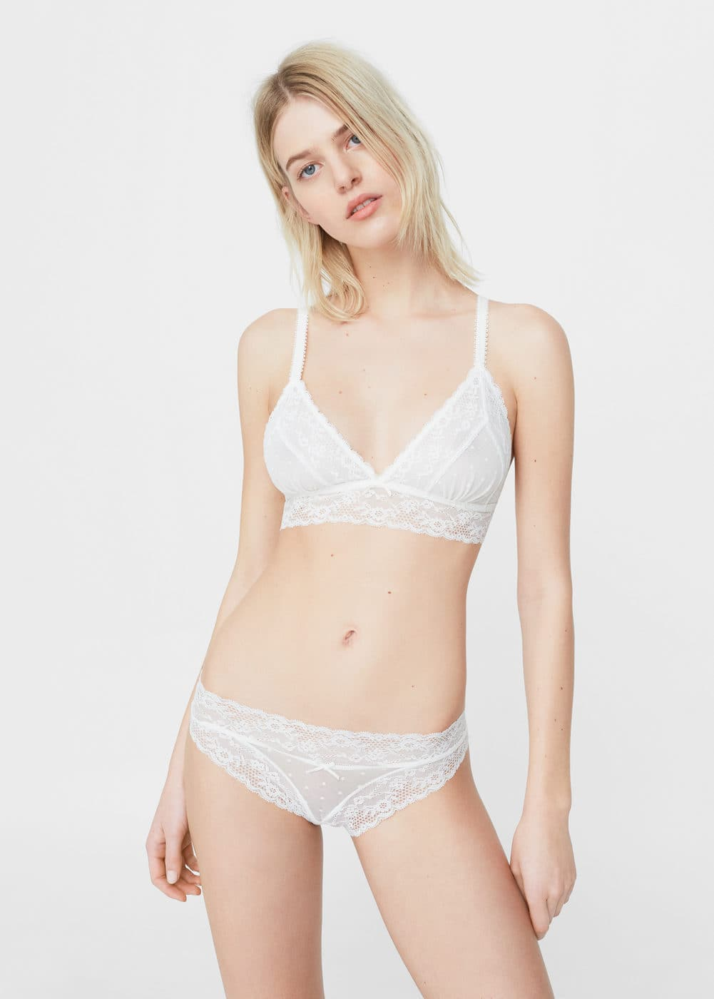 Lace triangle bra | MANGO