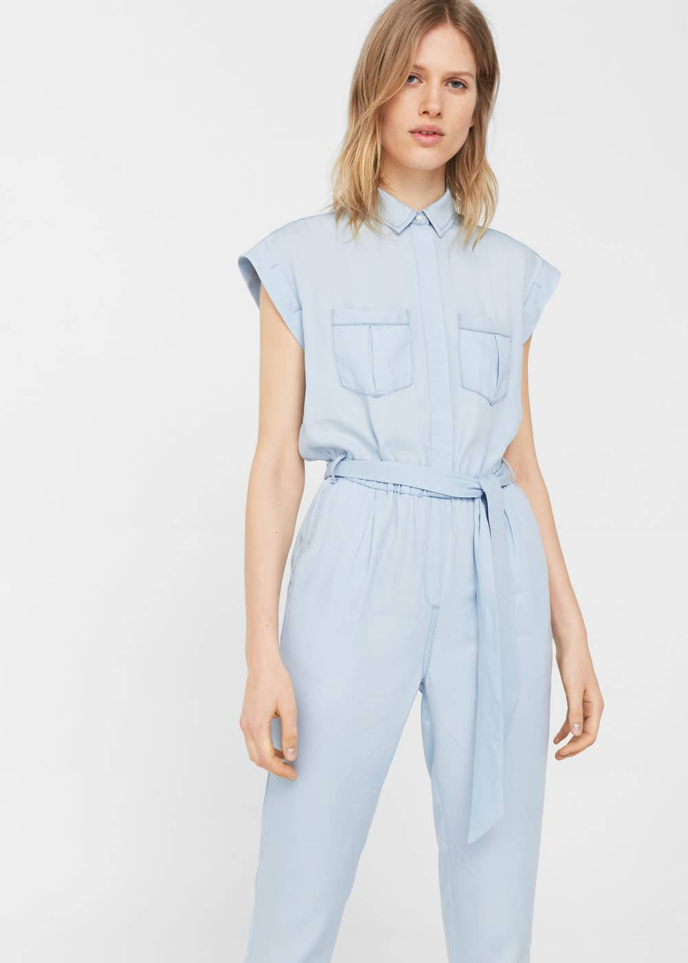Light denim jumpsuit | MANGO