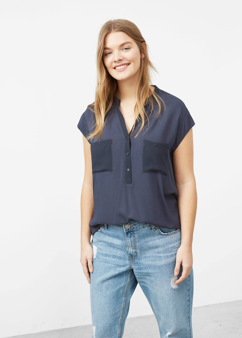 Chest-pocket flowy blouse | MANGO