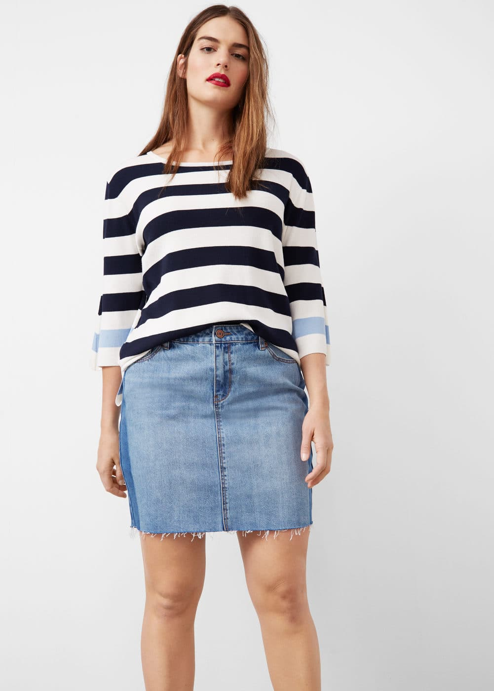 Contrast denim skirt | VIOLETA BY MANGO