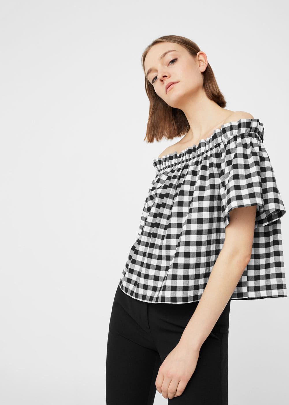 Gingham check blouse | MANGO