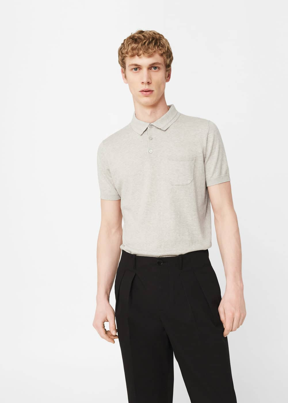 Knit cotton polo shirt | MANGO MAN