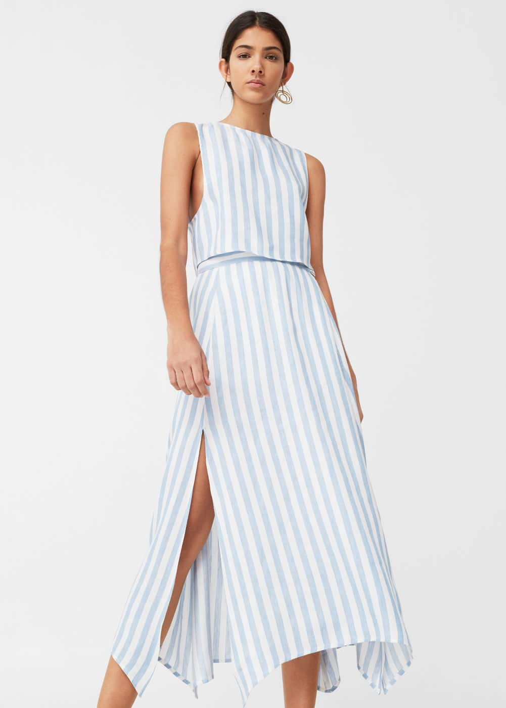Striped linen-blend skirt | MANGO