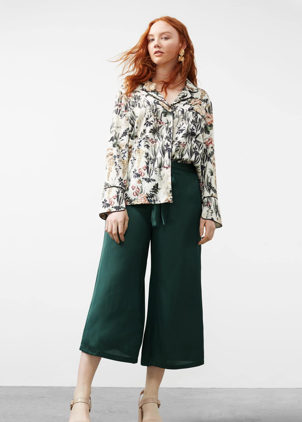 Satin crop trousers | MANGO