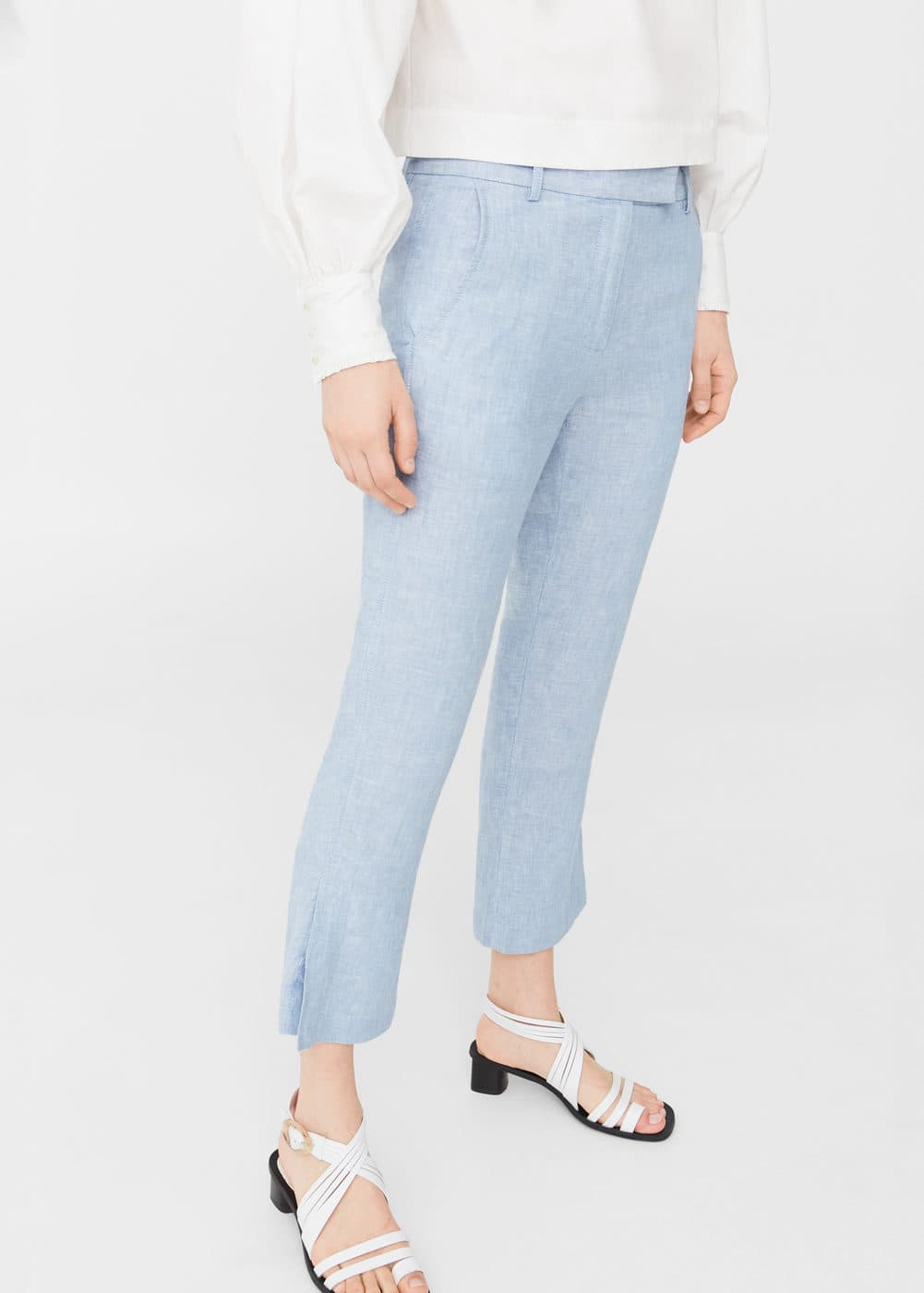 Straight linen-blend trousers | MNG