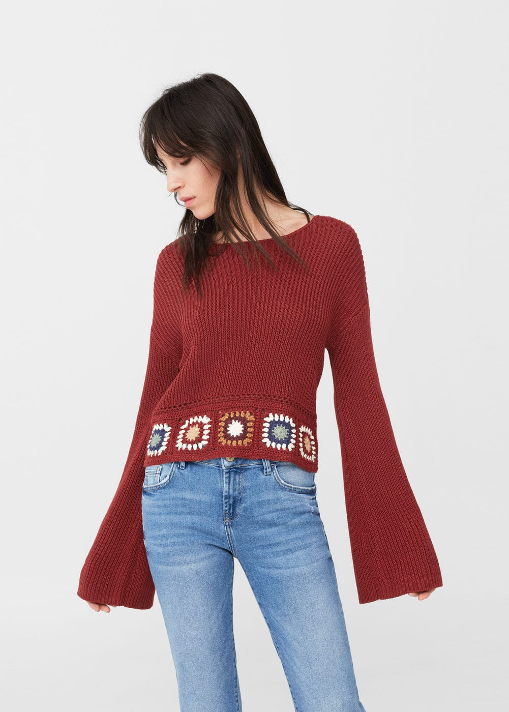 Crochet panel sweater | MANGO