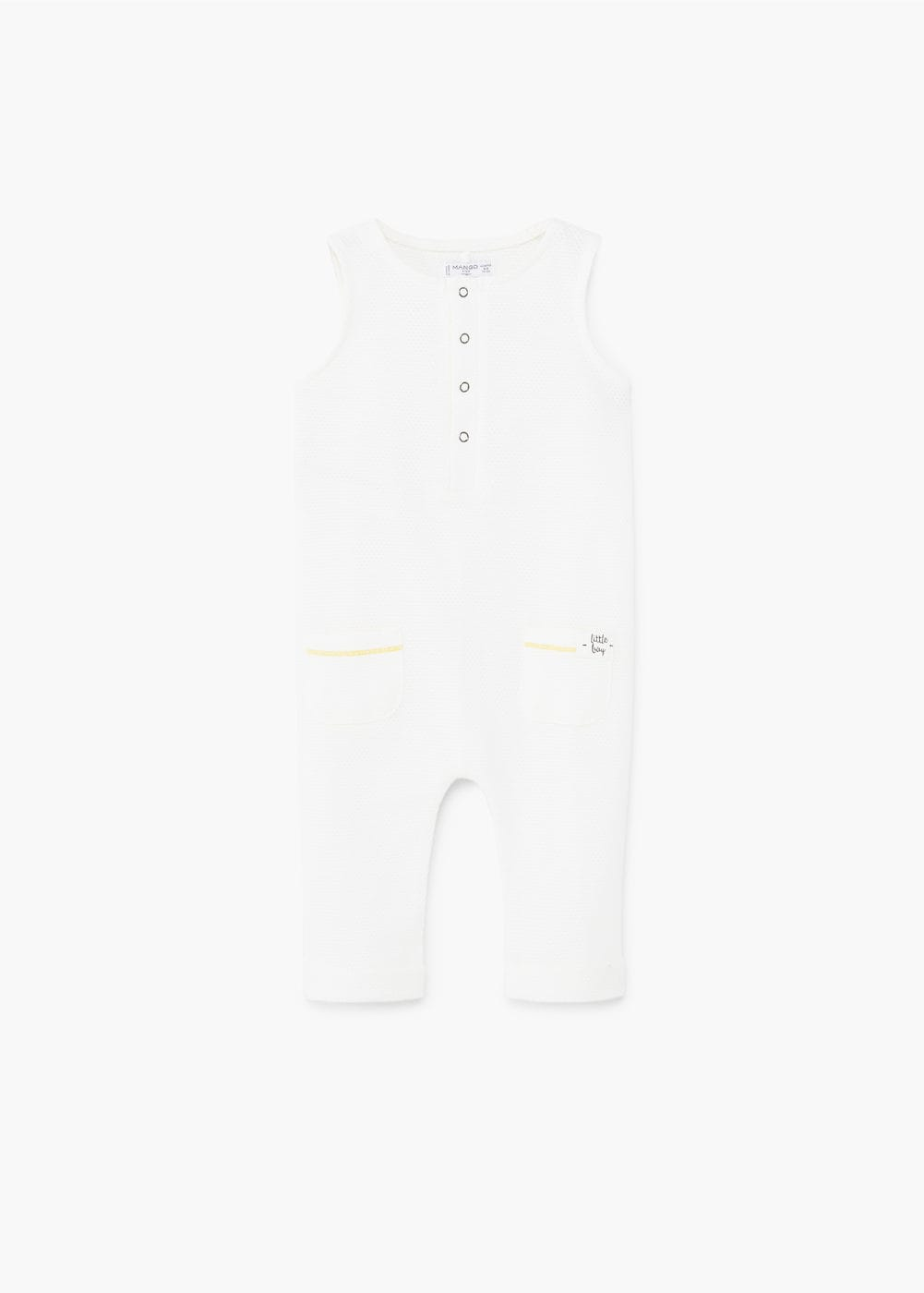 Textured cotton dungarees | MANGO KIDS