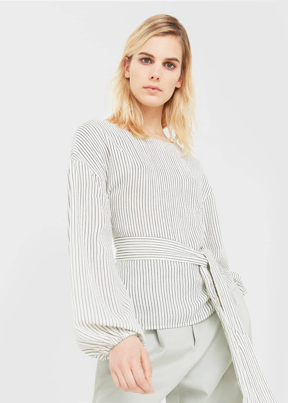 Belt striped blouse | MANGO