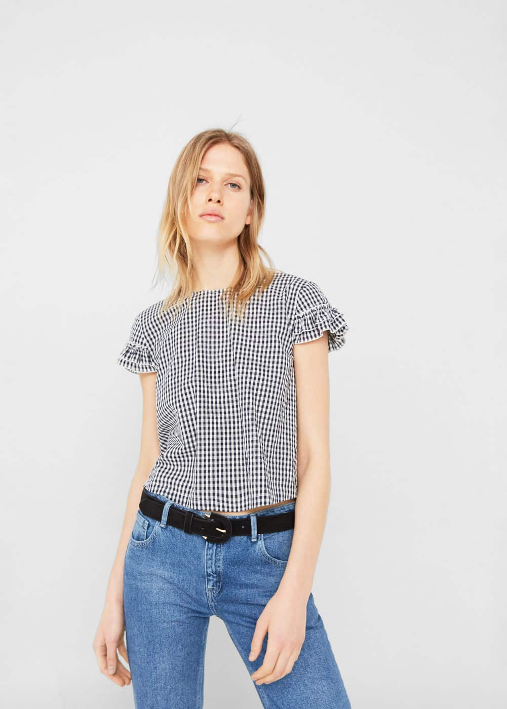 Bow gingham blouse | MANGO