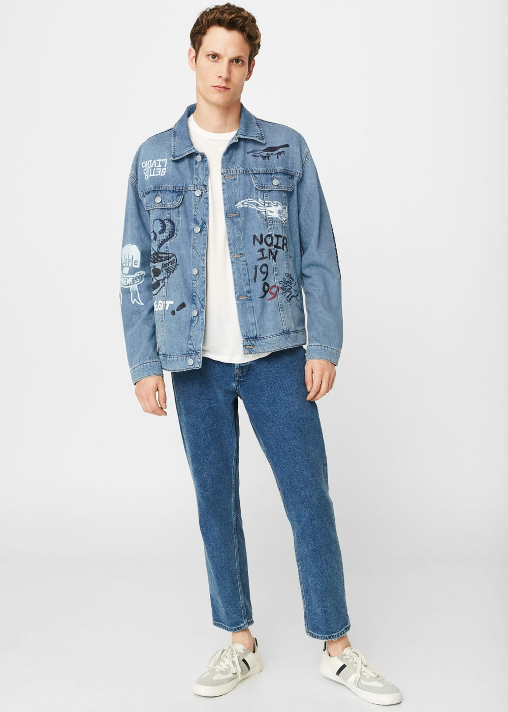Printed light denim jacket | MANGO MAN