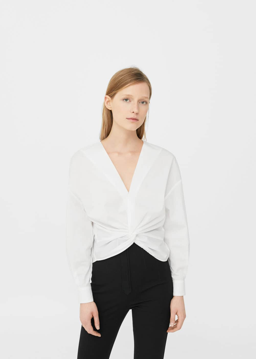 Cropped cotton shirt | MANGO