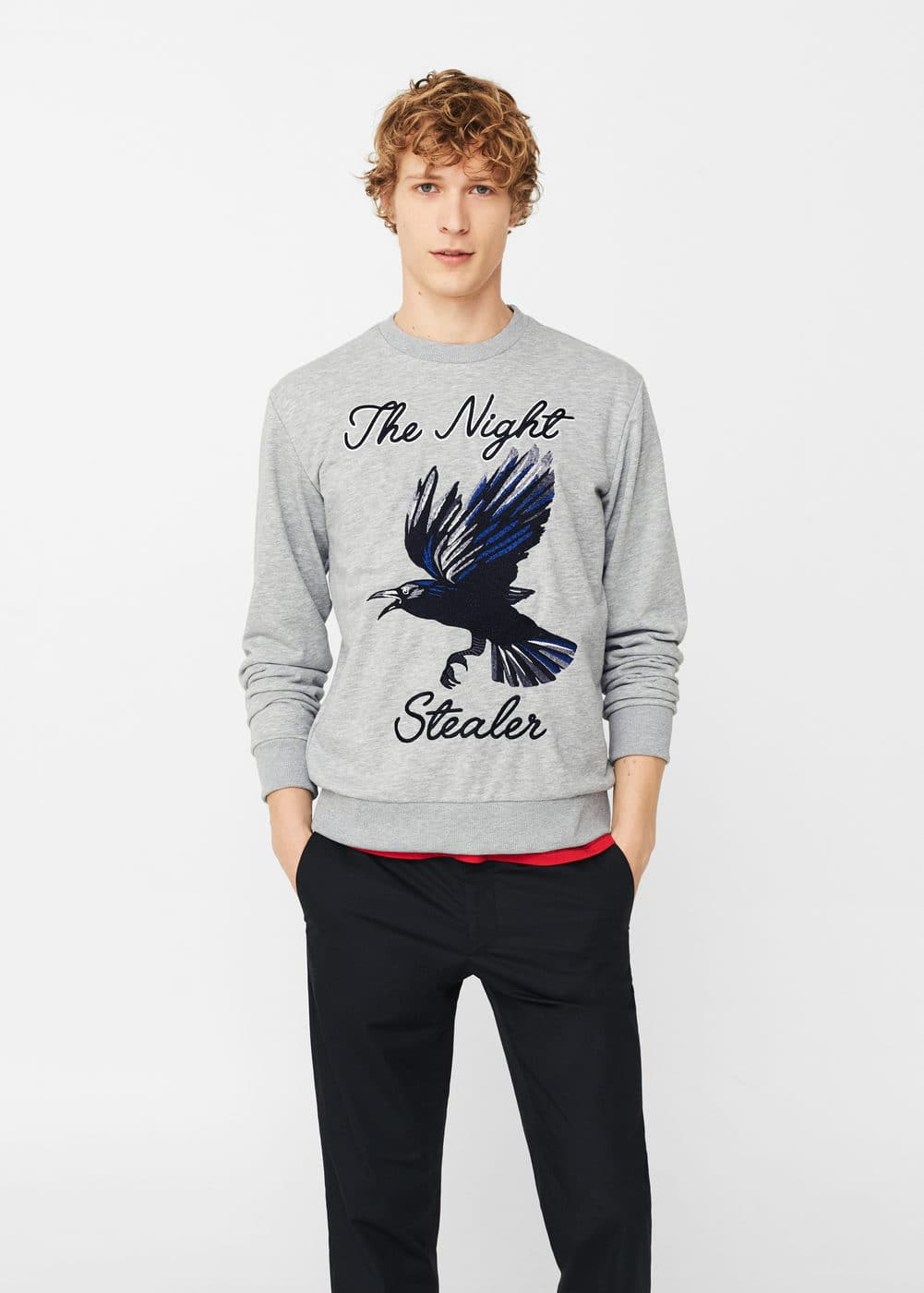 Printed cotton sweatshirt | MANGO MAN