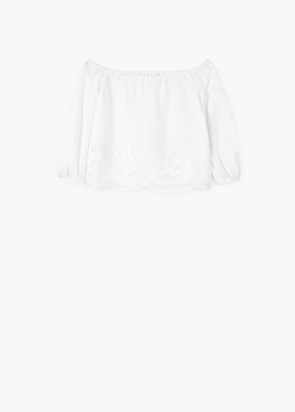 Brusa off-shoulder brodada | MANGO
