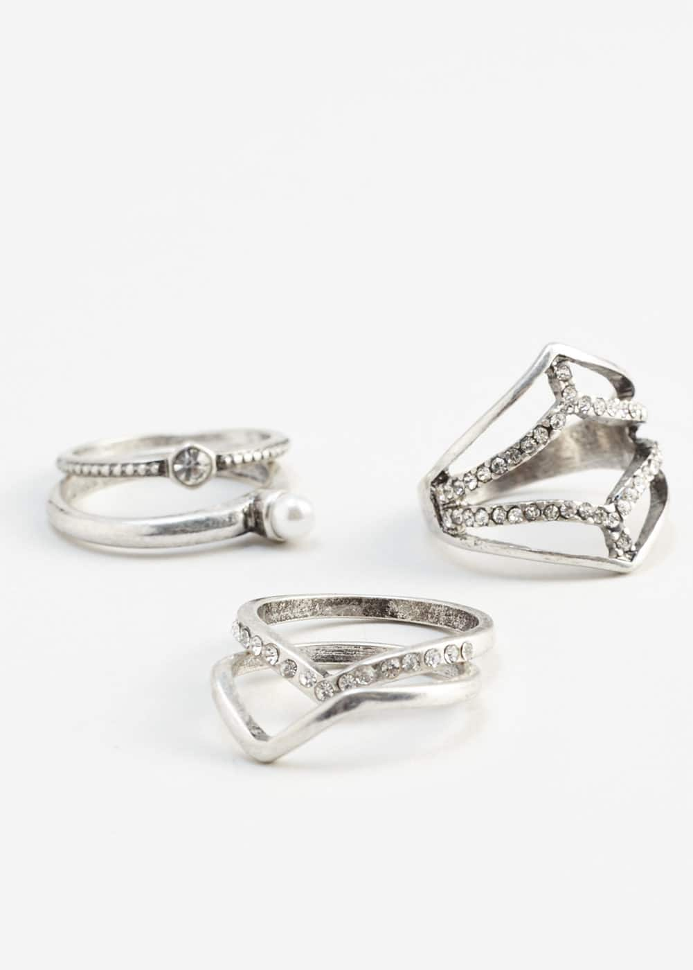Crystal ring set | MANGO