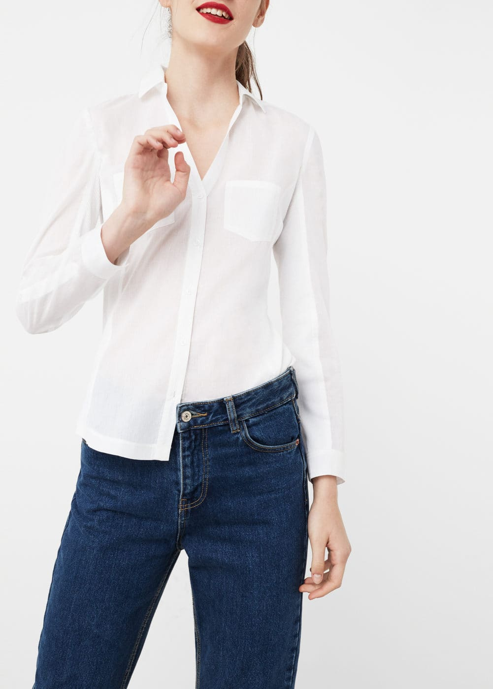Ribbed mix shirt | MANGO
