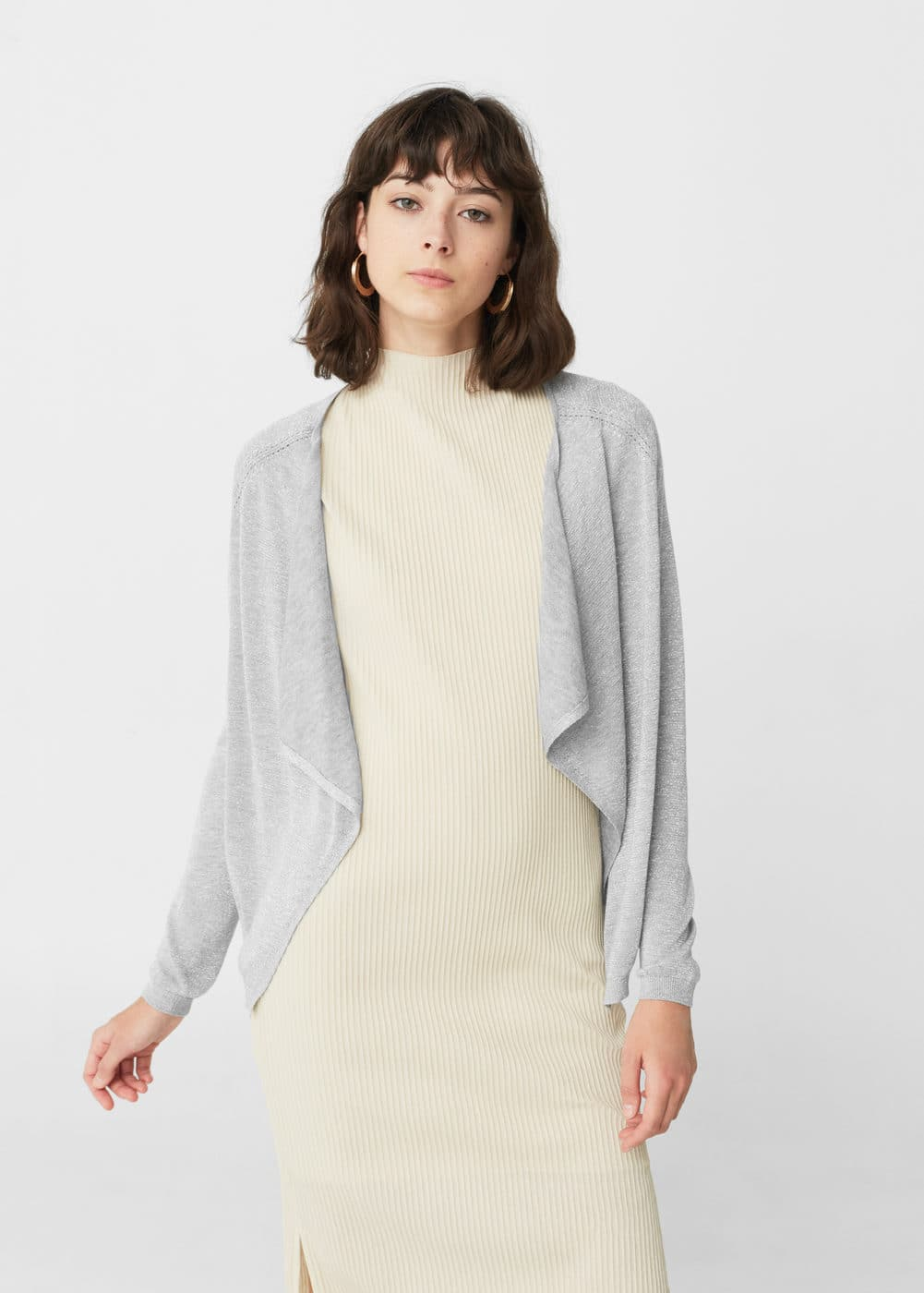 Metal thread cardigan | MANGO