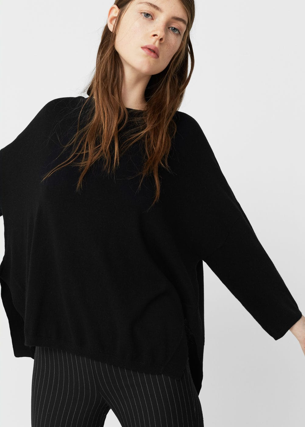Side slit cotton-blend sweater | MNG