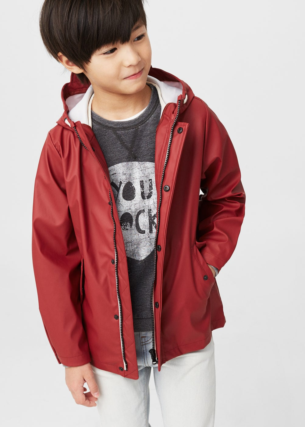 Water-repellent mixed jacket | MANGO KIDS