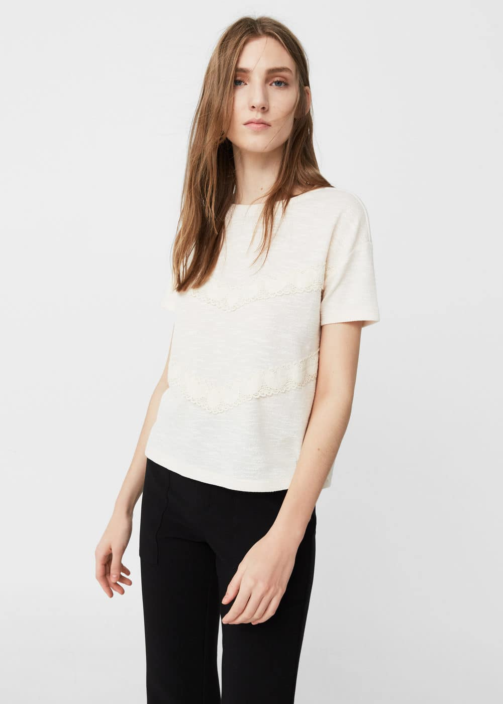 Crochet trim t-shirt | MANGO