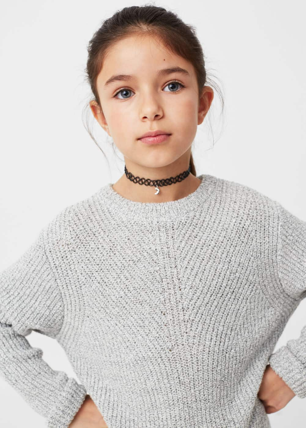 Flecked cotton-blend sweater | MANGO KIDS