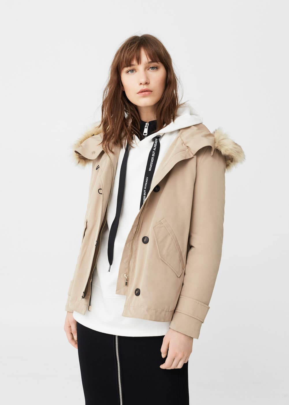 Faux-fur quilted parka | MANGO