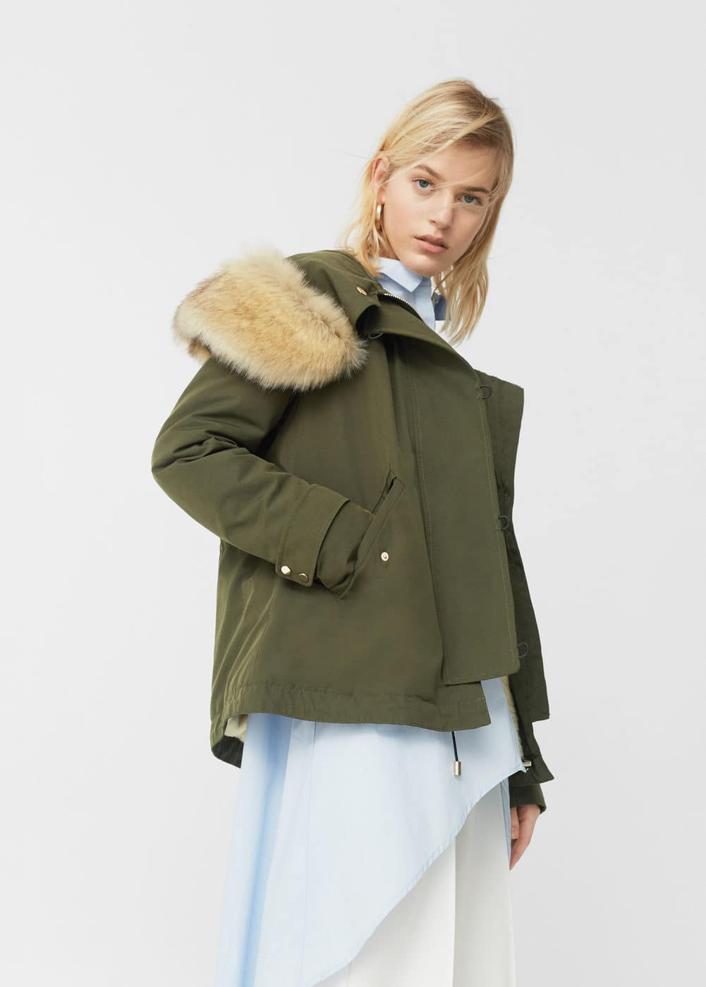 Faux-fur quilted parka - Woman | MANGO Bermuda : quilted parkas - Adamdwight.com