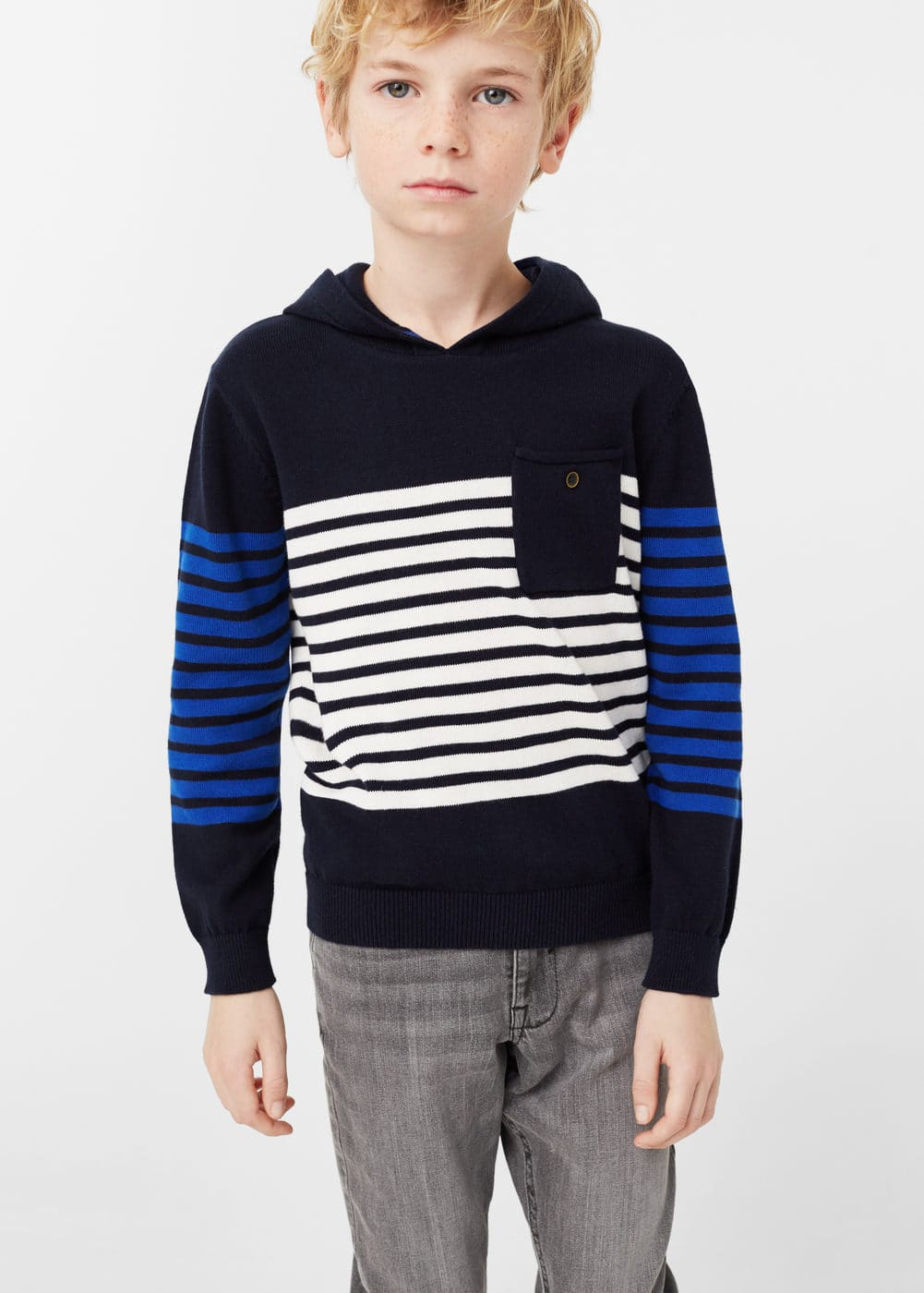 Striped hooded knit sweater | MANGO