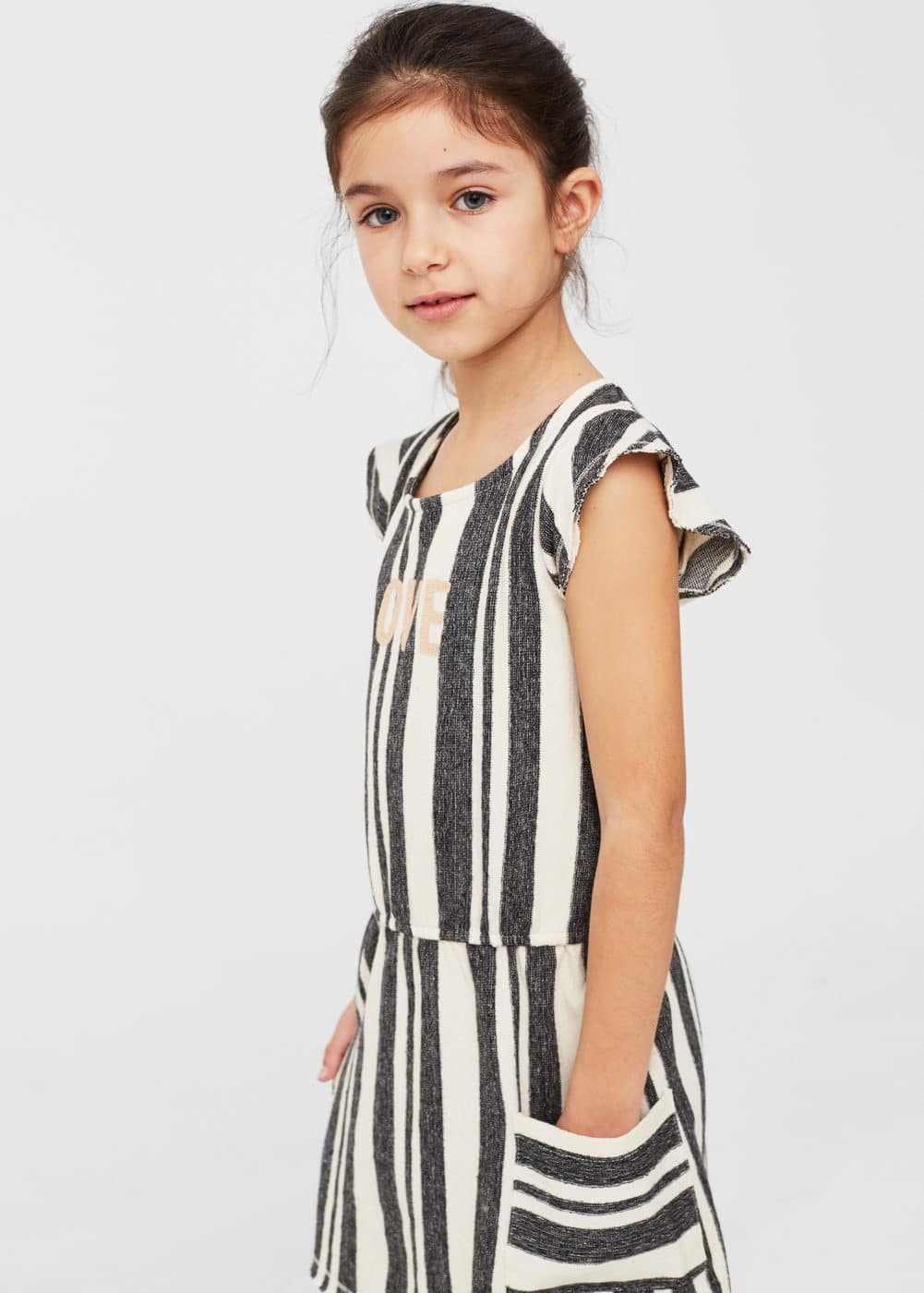 Message striped dress | MANGO KIDS