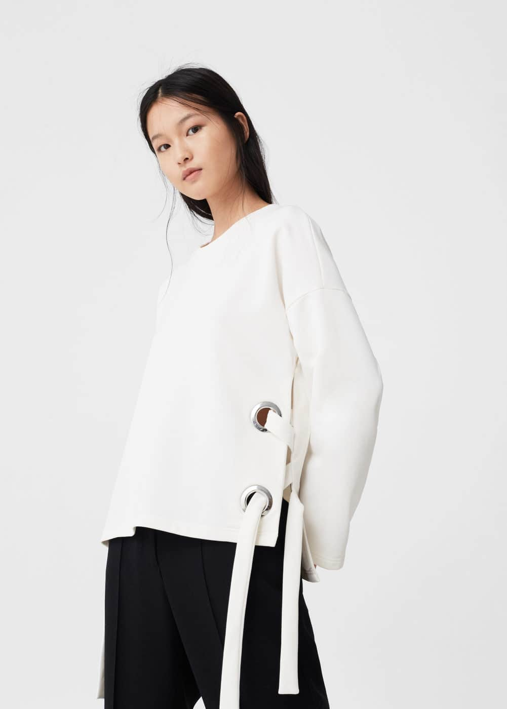 Bow textured sweatshirt | MANGO