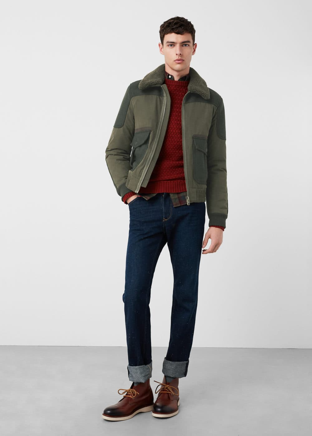 Faux shearling mixed jacket | MANGO MAN