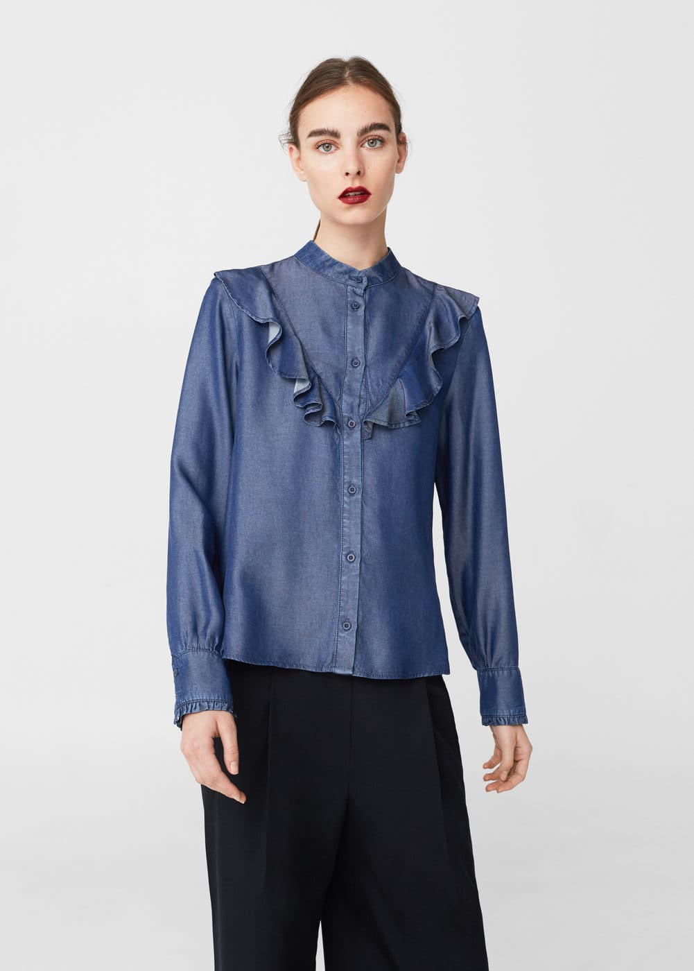 Ruffled denim shirt | MANGO