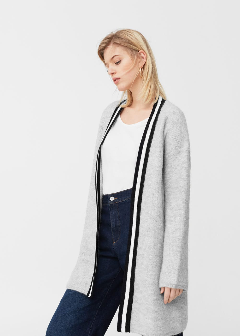 Contrast trims cardigan | MANGO