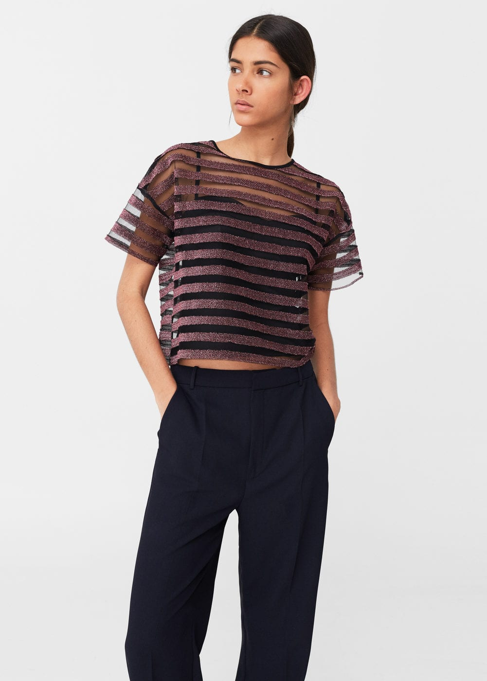 Metallic striped t-shirt | MANGO