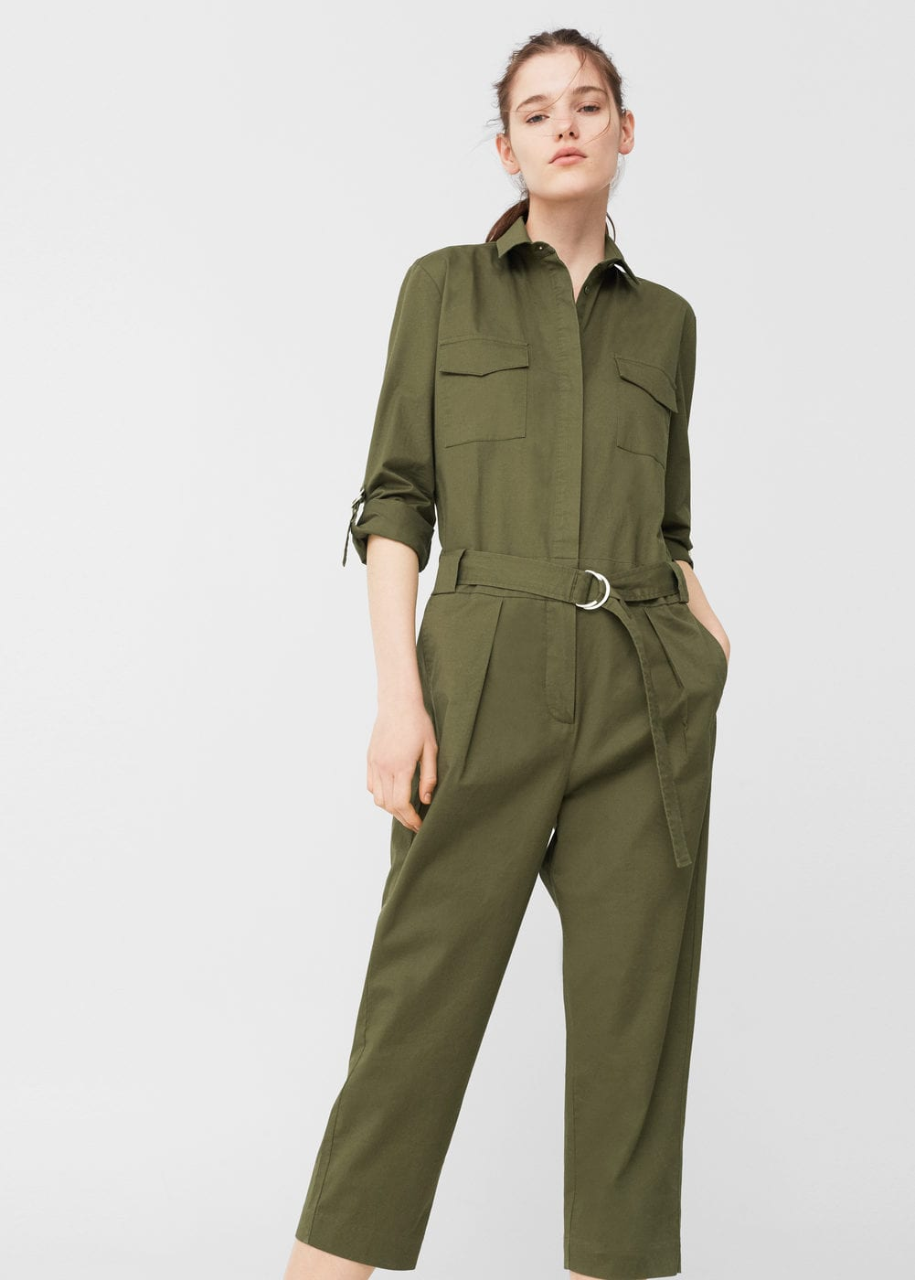 Cropped cotton jumpsuit | MANGO