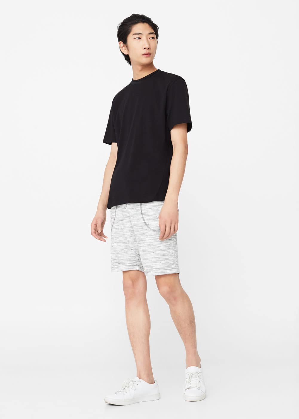 Speckled cotton bermuda short | MANGO MAN