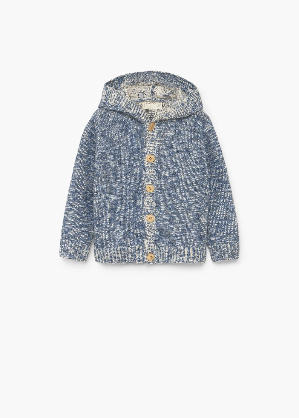 Hooded flecked cardigan | MANGO KIDS