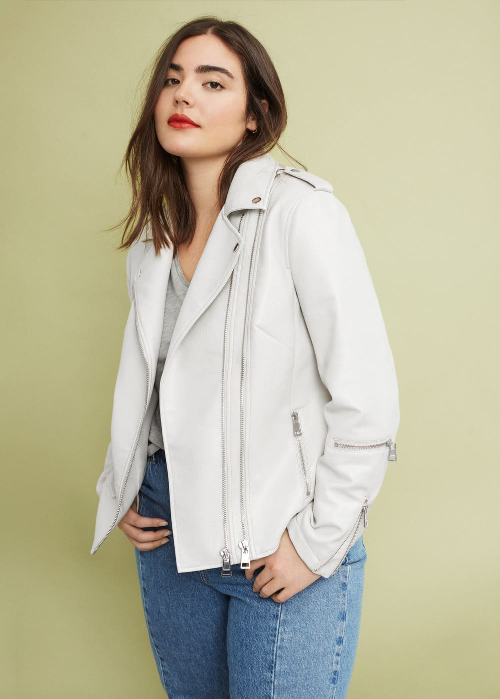 Zipped biker jacket | VIOLETA BY MNG
