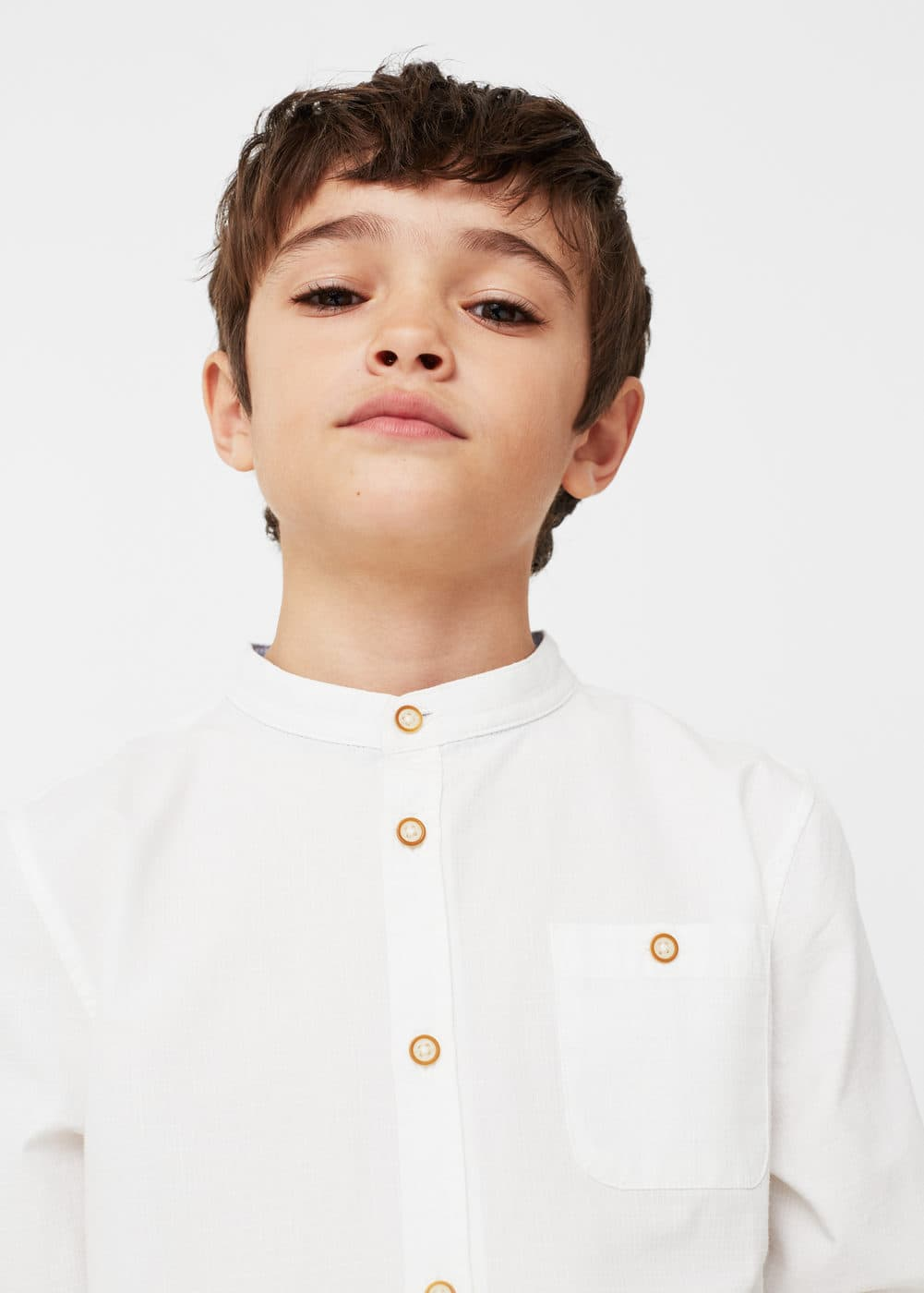 Textured check cotton shirt | MANGO KIDS