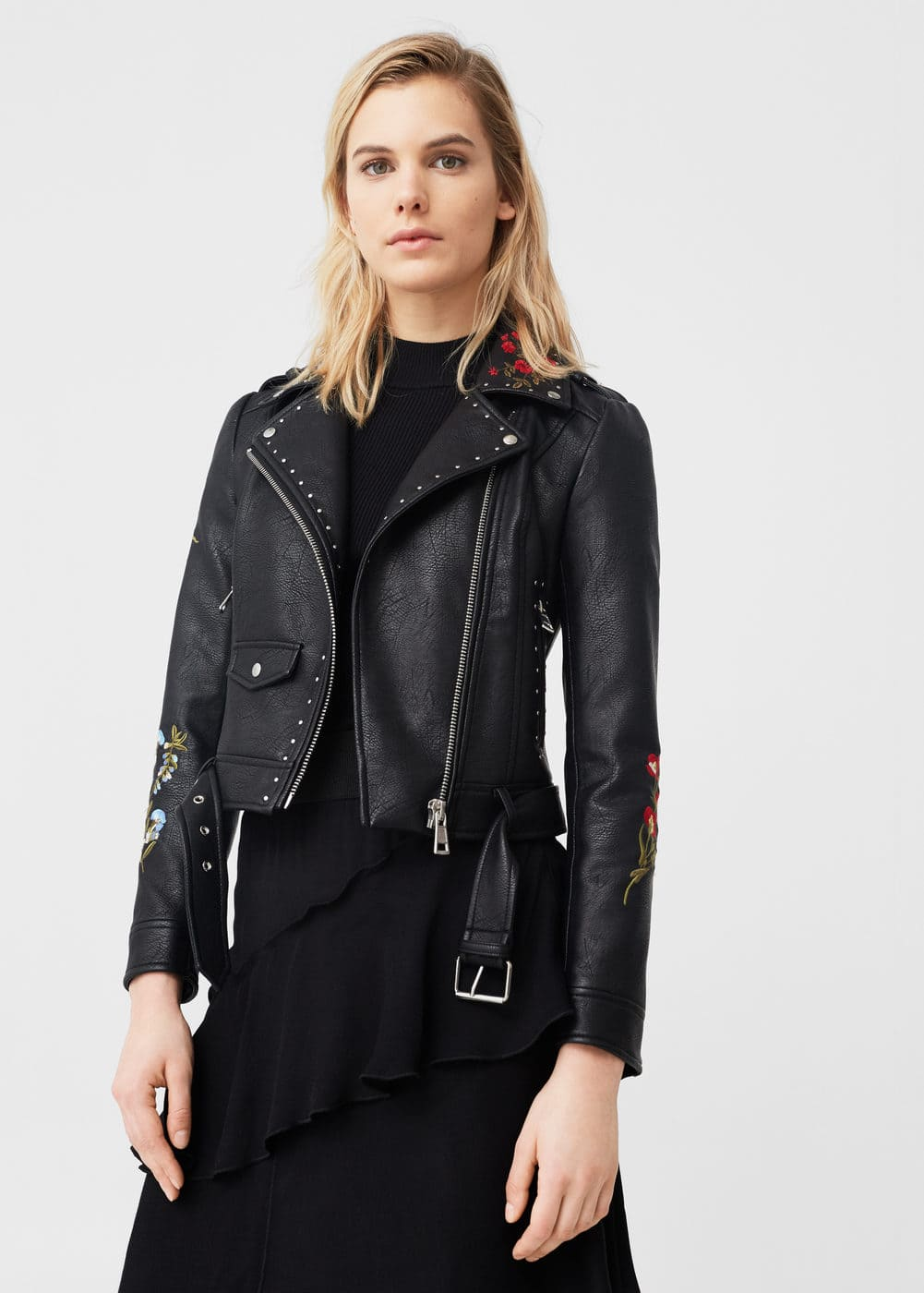 Embroidered stud jacket | MANGO