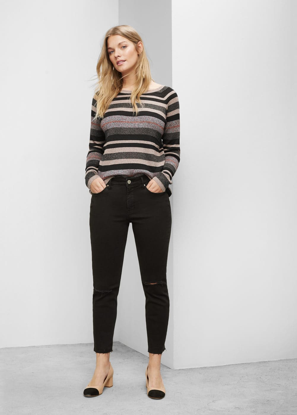 Fine-knit metallic sweater | VIOLETA BY MANGO