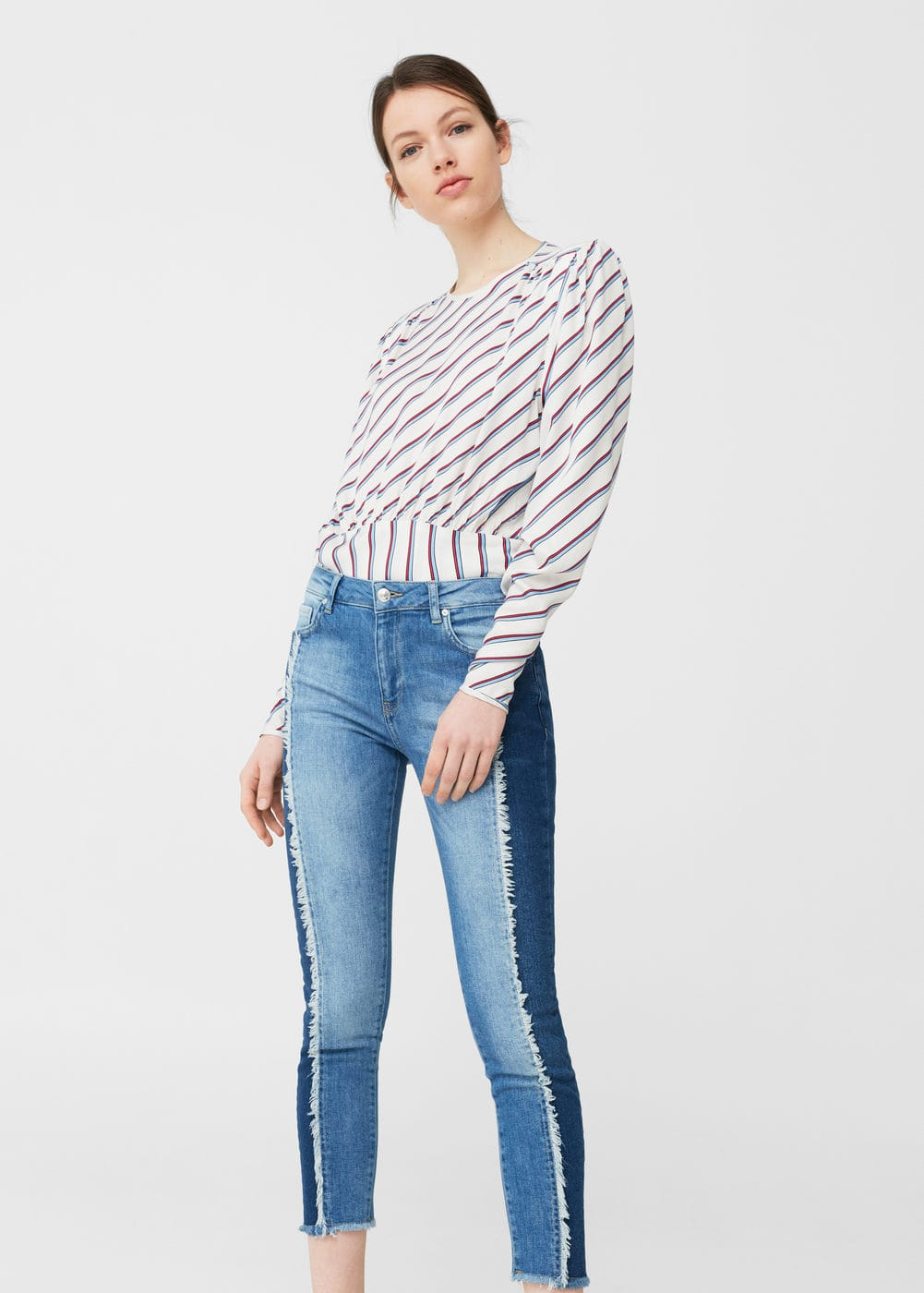 Jean relaxed crop contrast | MANGO