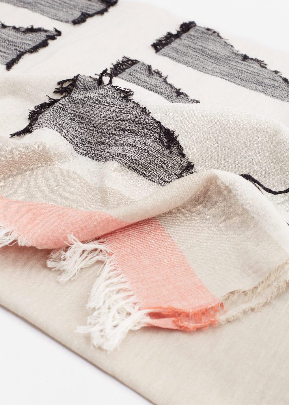 Stripe-pattern cotton scarf | MANGO