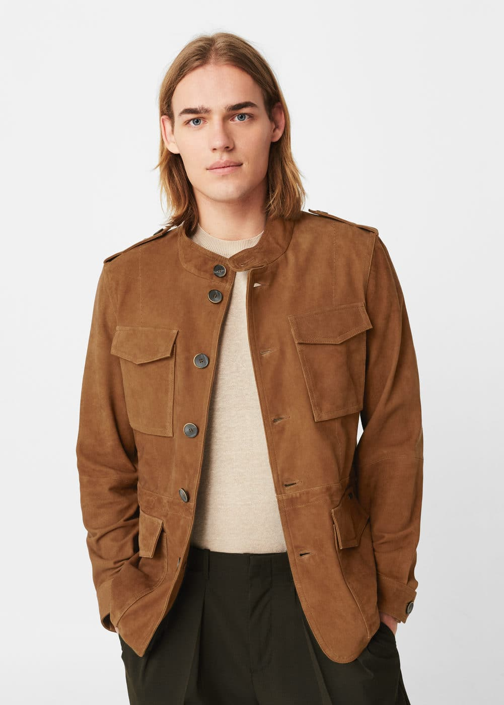 Suede field jacket | MANGO MAN