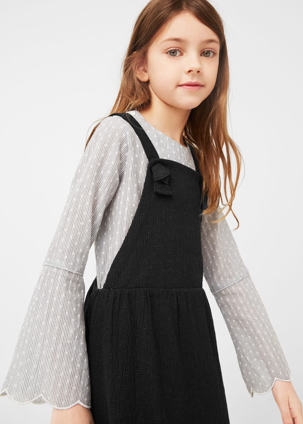 Cotton-blend textured pinafore dress | MANGO