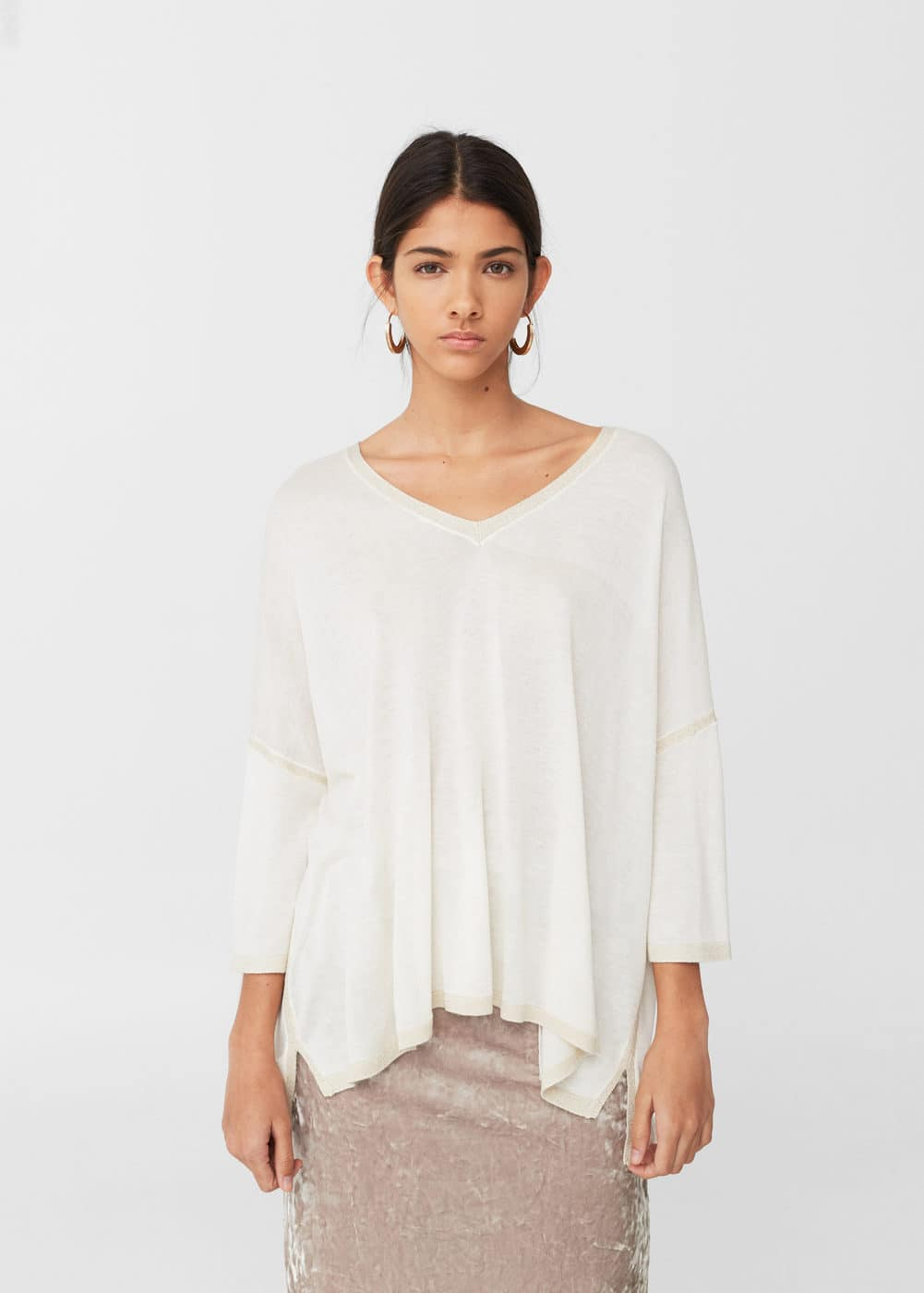 Ribbed metallic sweater | MANGO