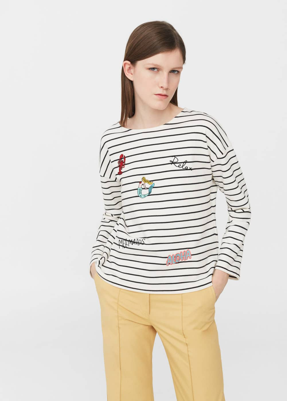 Embroidered cotton sweatshirt | MNG