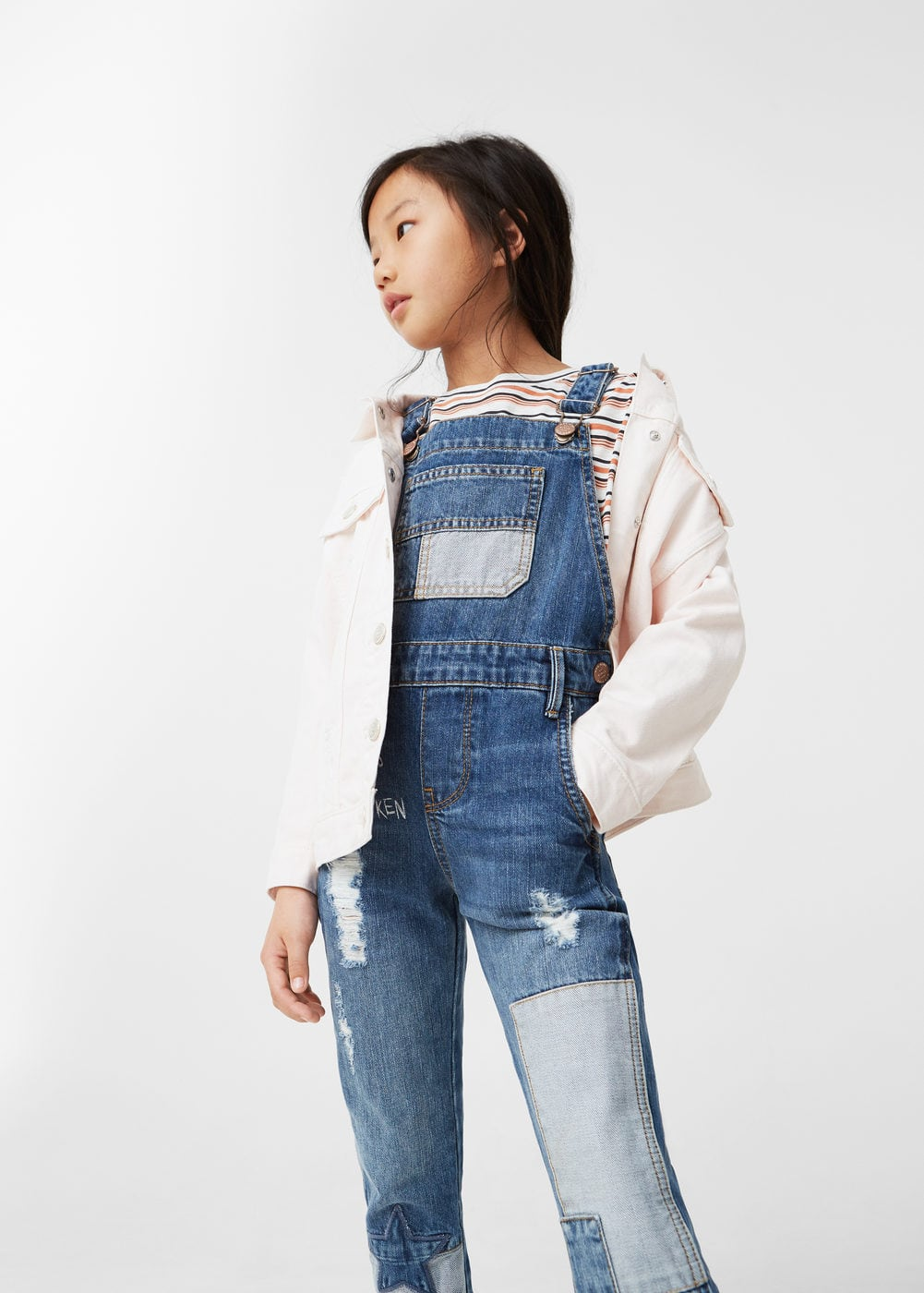 Jeans-latzhose mit patches | MANGO KIDS