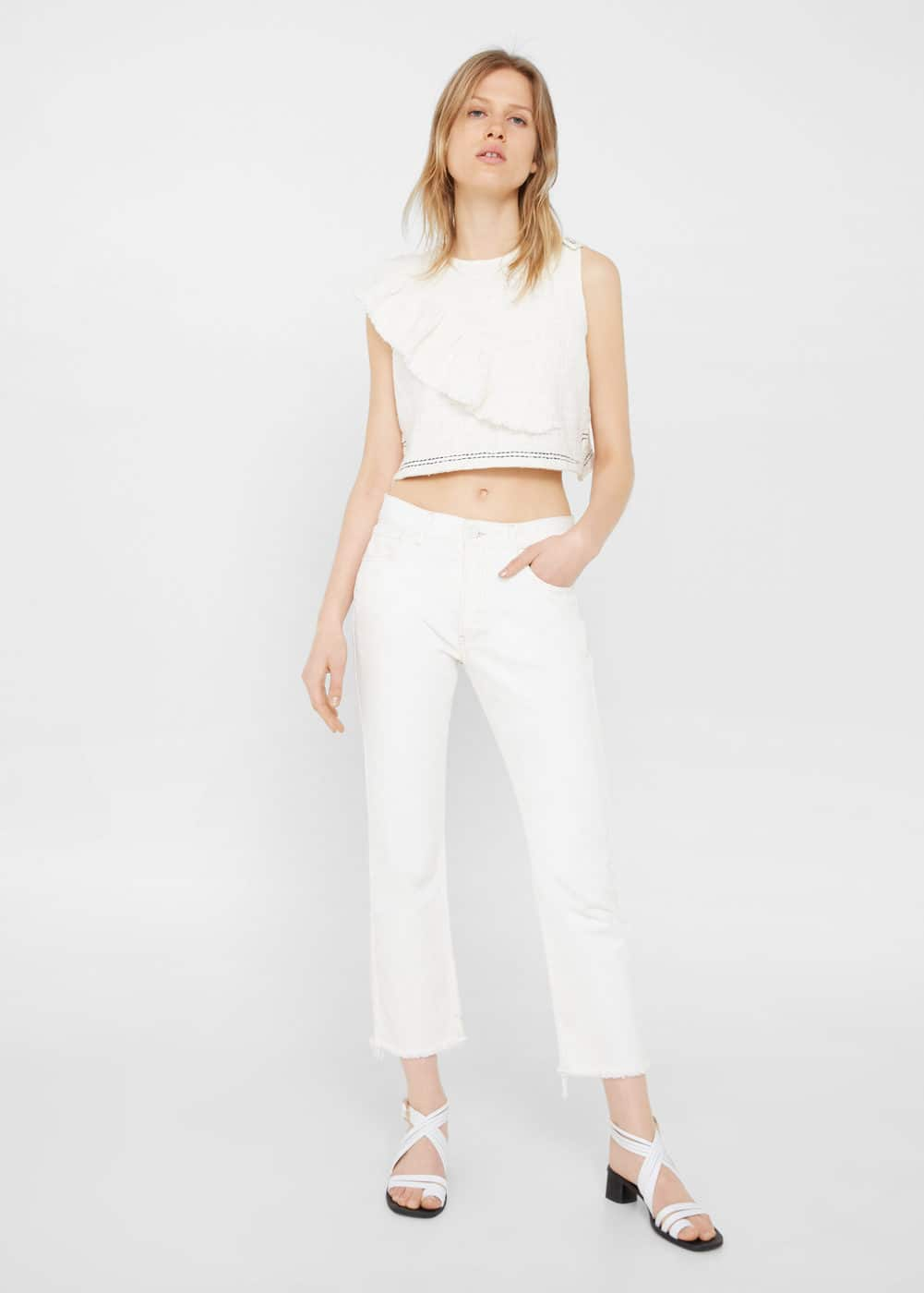 Ruffle cropped top | MANGO